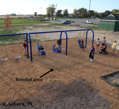 layout of woodcarpetsystem on playground area