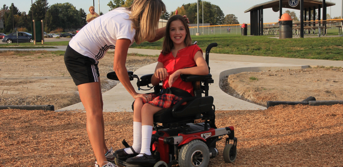 woman with a girl in a wheelchair at reike park