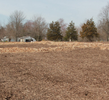 erosion control material in an open field